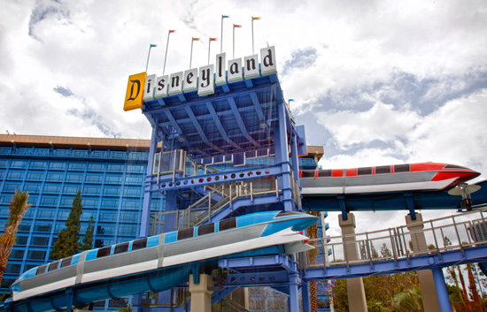 Disneyland hotel during a cloudy day