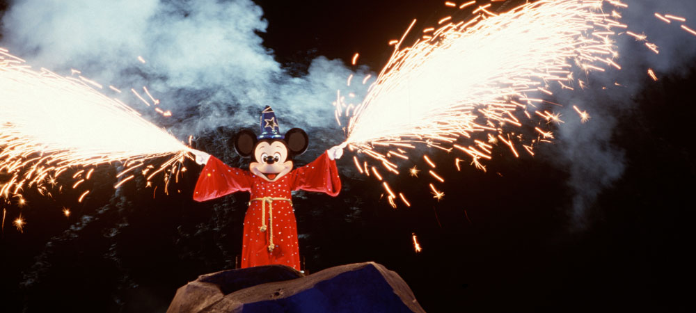 Mickey during Fantasmic! with sparks flying