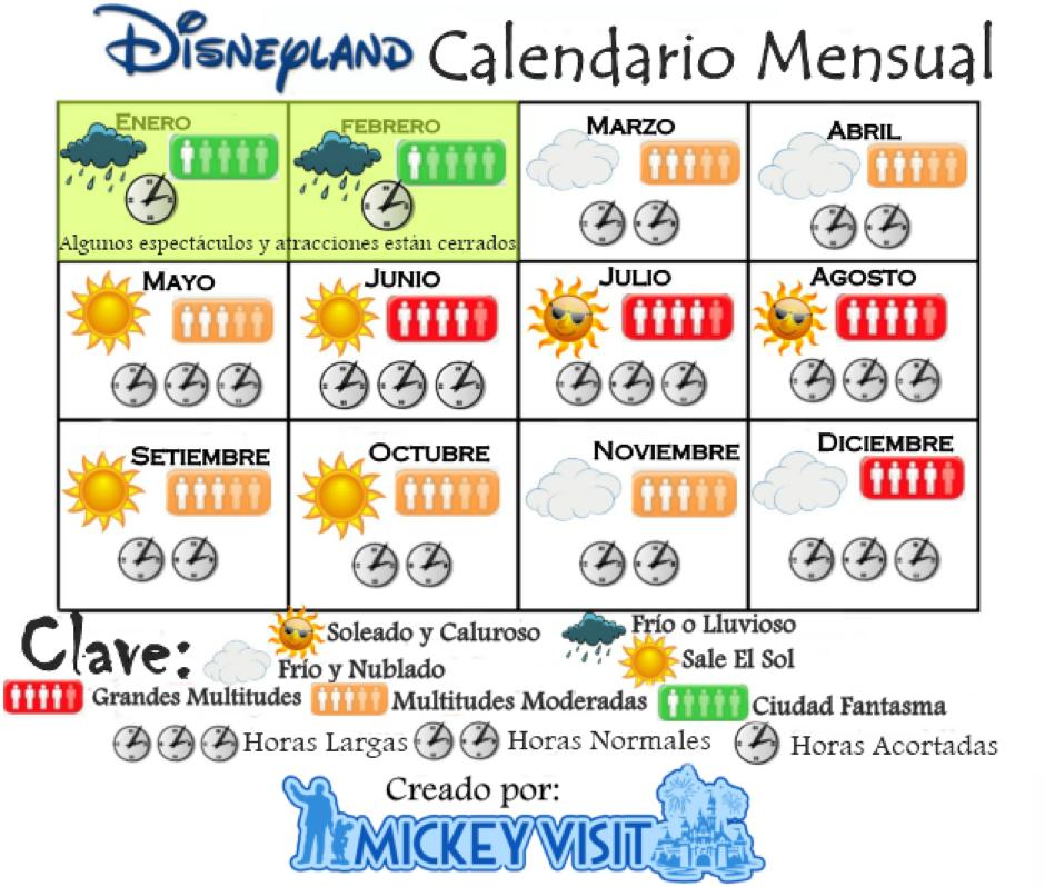 disneyland calendario mensual
