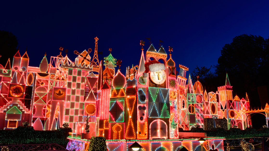 it's a small world lit up at Christmas