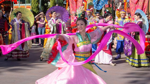 Dancer with ribbons during Lunar New Year festival