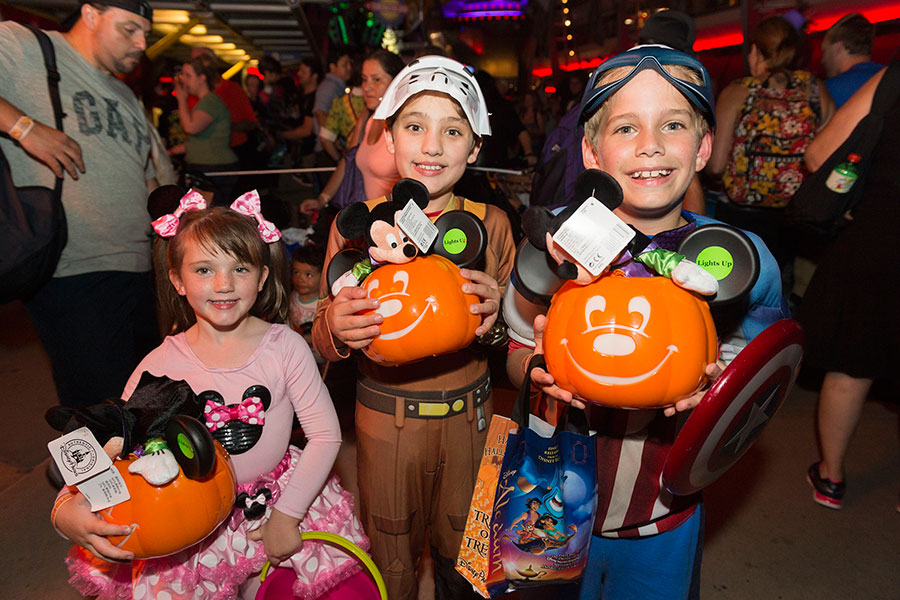Kids in Halloween costumes at Mickey's Not-So-Scary Halloween Party