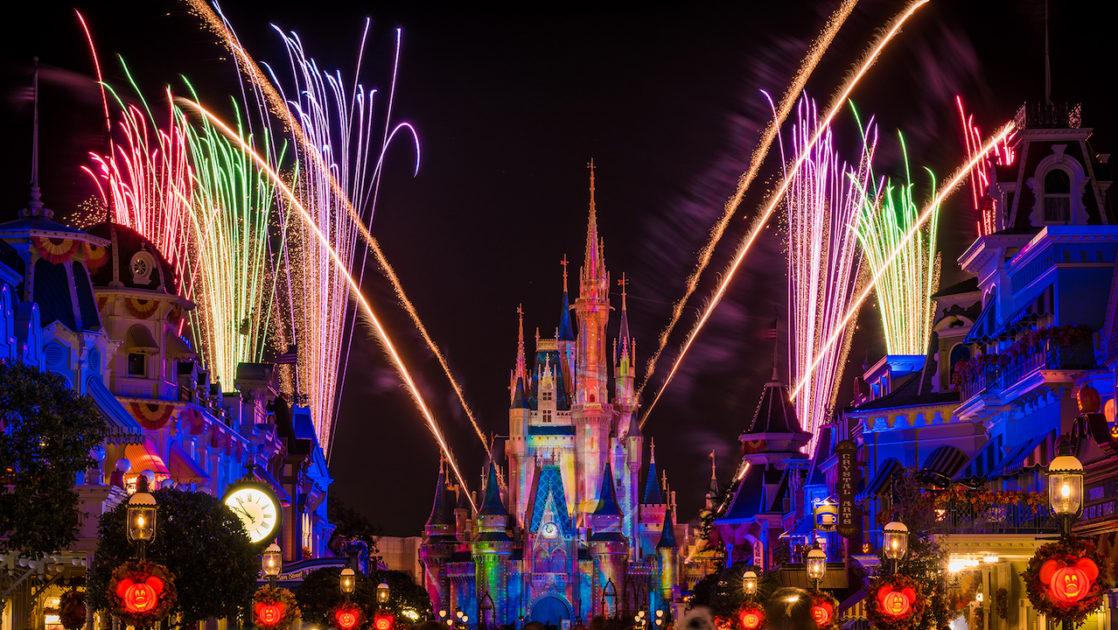 Walt Disney World castle with fireworks