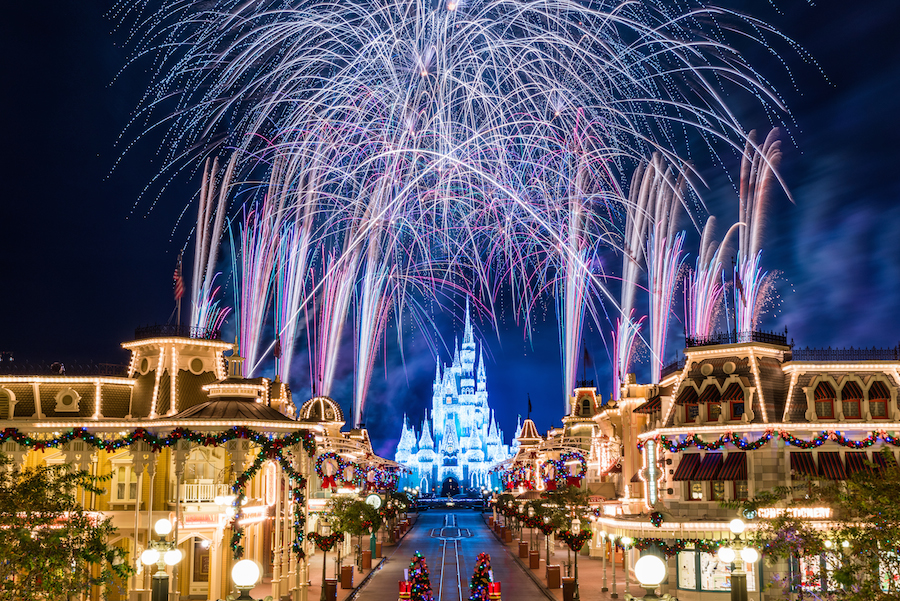Mickey's Very Merry Christmas Party Fireworks over the castle.