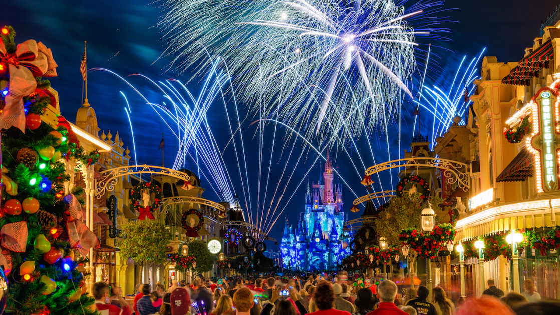 mickeys very merry christmas party castle with christmas party fireworks - Mickeys Very Merry Christmas