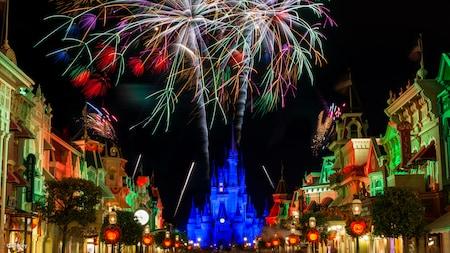 Walt Disney World's Main Street with fireworks