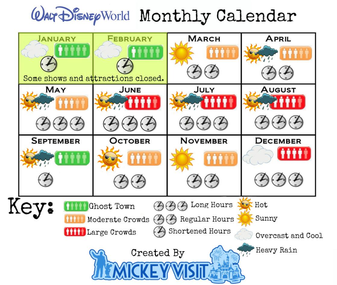 Walt Disney World Monthly Calendar