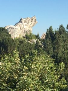 The Grizzly Peak is part of the Grizzly River Run and is a grizzly bear carved into a mountain. The ride is perfect for the hot weather during the summer.