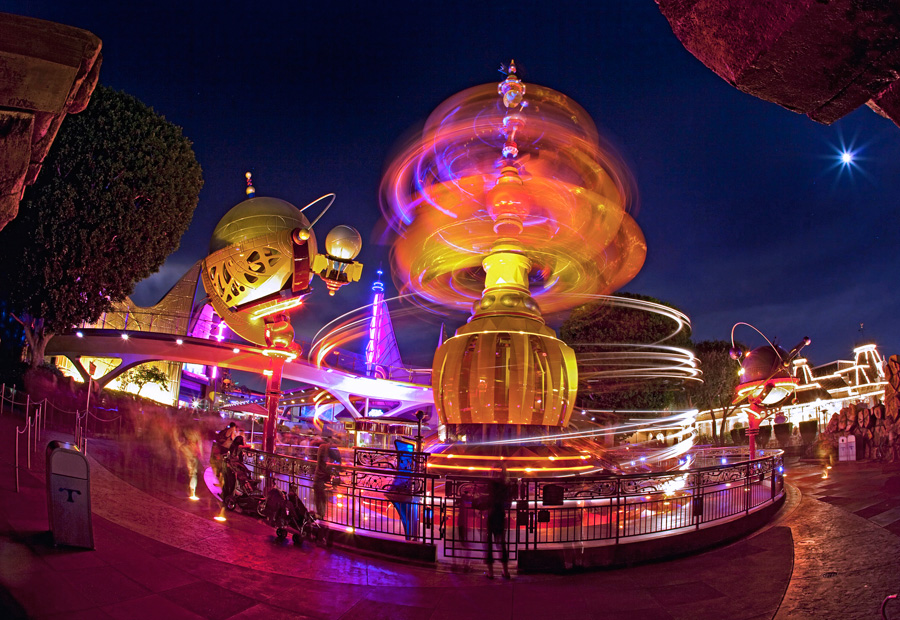 Tomorrowland Orbitor at night