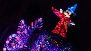 Sorcerer Mickey in the Paint the Night Parade is the perfect attraction to end your Disney California Adventure ride and attraction guide.
