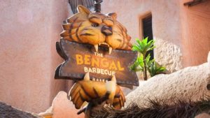 Bengal Barbecue sign and restaurant that provides foods to help make Disneyland with dietary restrictions hassle-free