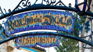 Rancho del Zocalo mosaic sign with blue and yellow tiles
