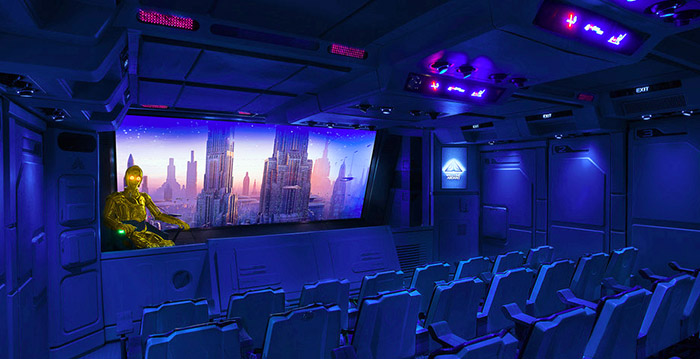 Inside view of Star Tours with C3PO looking out at the room
