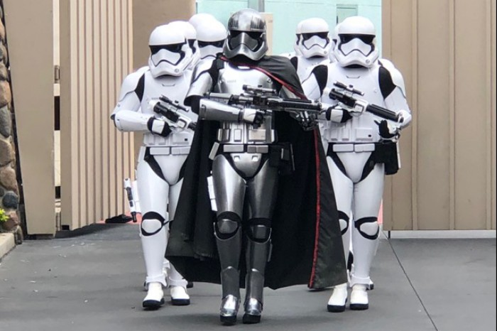 Captain Phasma and stormtroopers walking towards camera