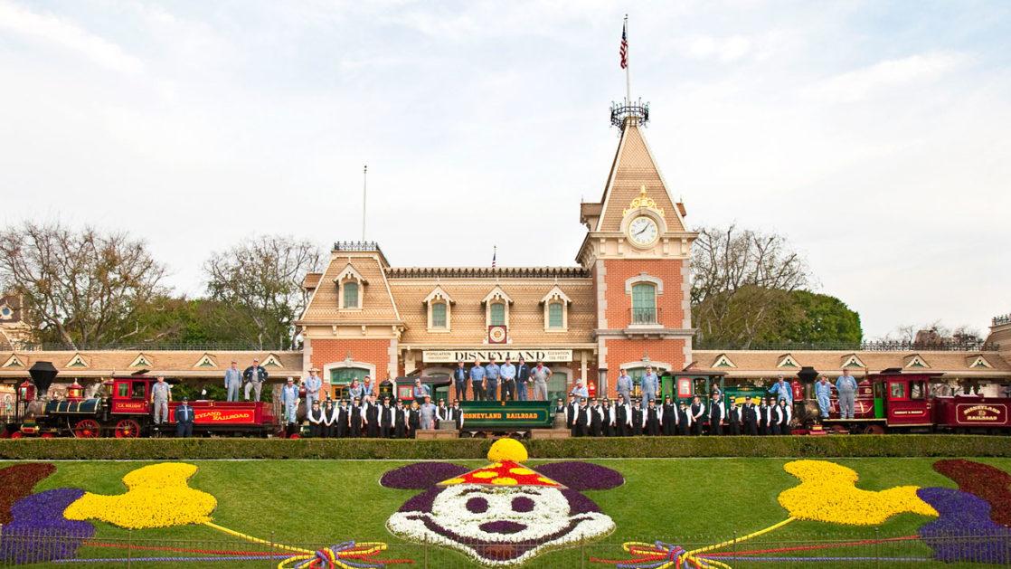 Flower mickey in front of Disneyland