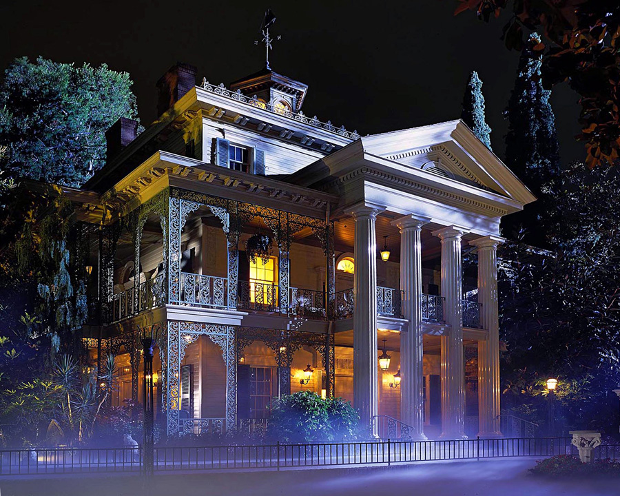 Haunted Mansion outside at night