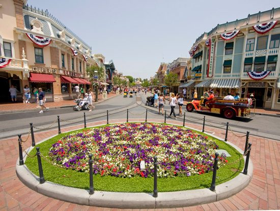 International Disneyland visitors: Main street USA view from the castle