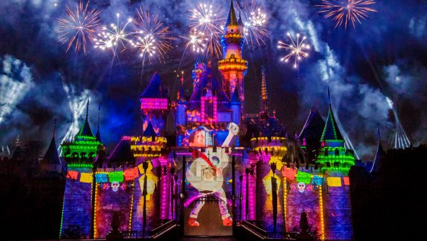 Pixar Fest fireworks with Coco on the Sleeping Beauty castle