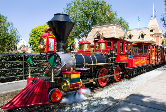 Disneyland railroad train during the day time