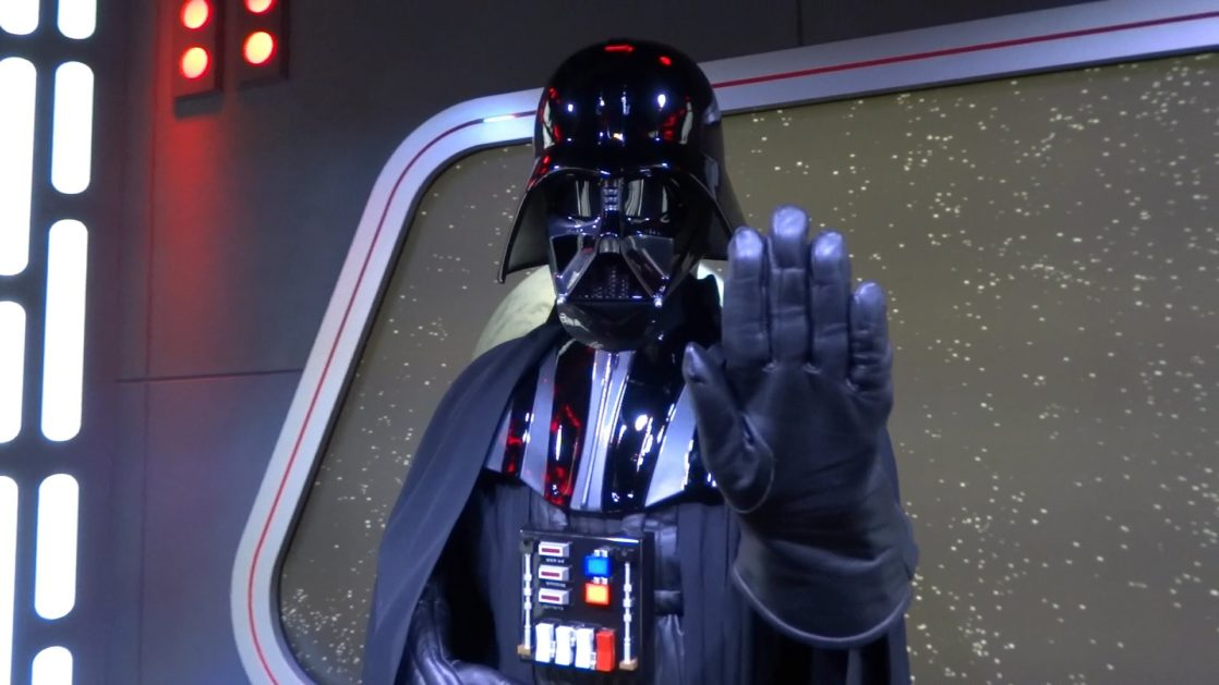 Darth Vader with his hand raised