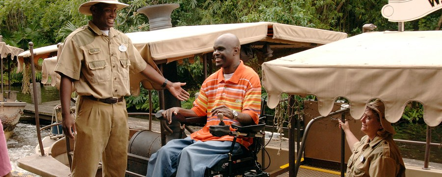 Guests in wheelchair getting ready to board Jungle Cruise
