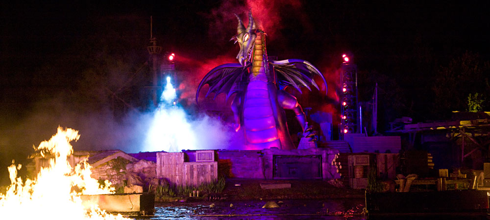 Fantasmic! dragon in front of the river