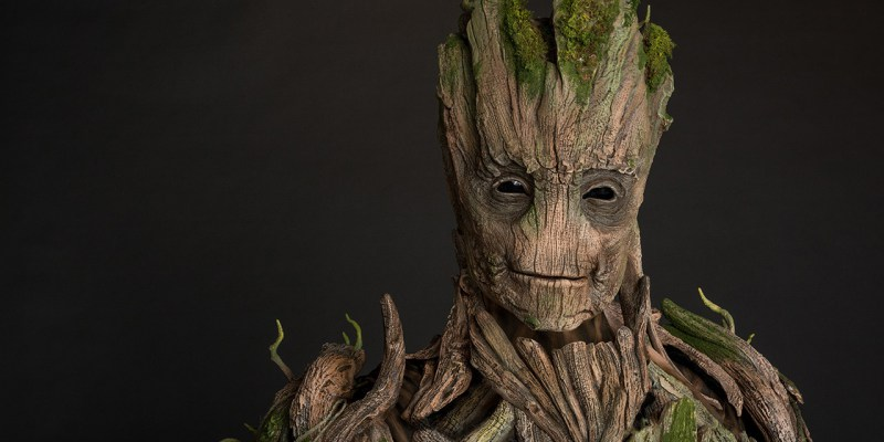 Closeup of Groot's face with black background