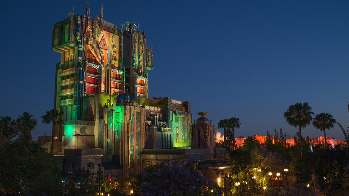 Guardians of the Galaxy ride at night