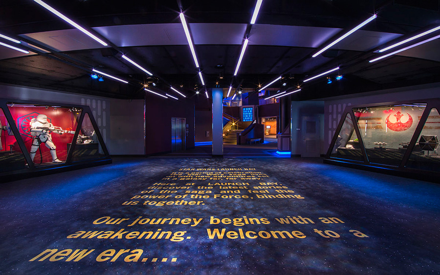 Entrance to Star Wars Launch Bay with Star Wars writing on the floor