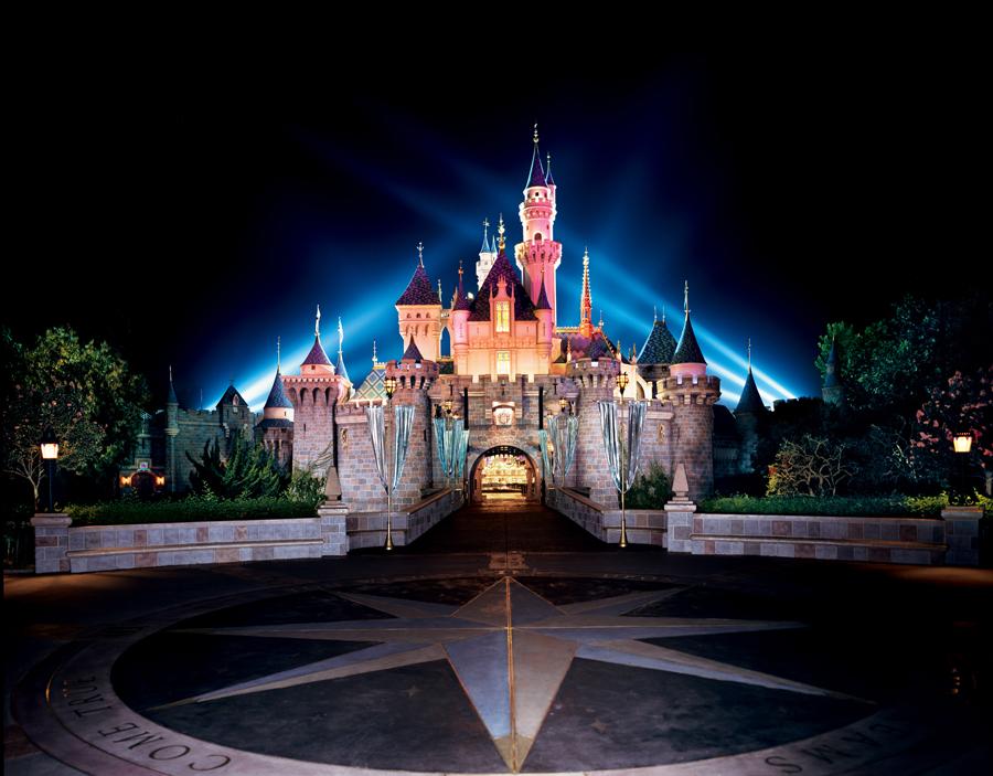 Sleeping Beautys castle at night