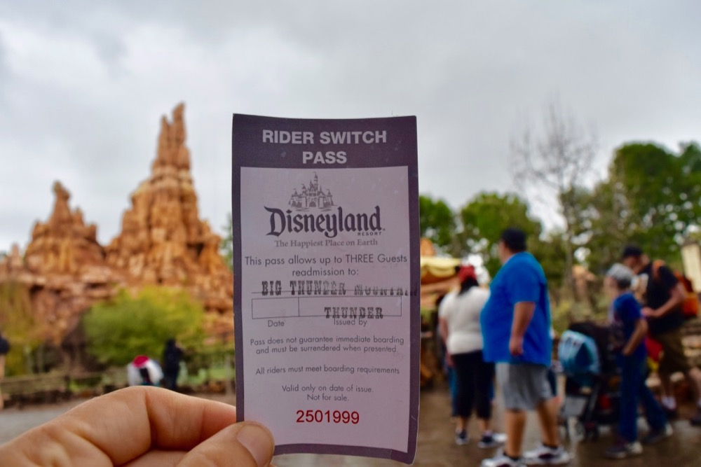 Close up of Rider Switch Pass for Big Thunder Mountain