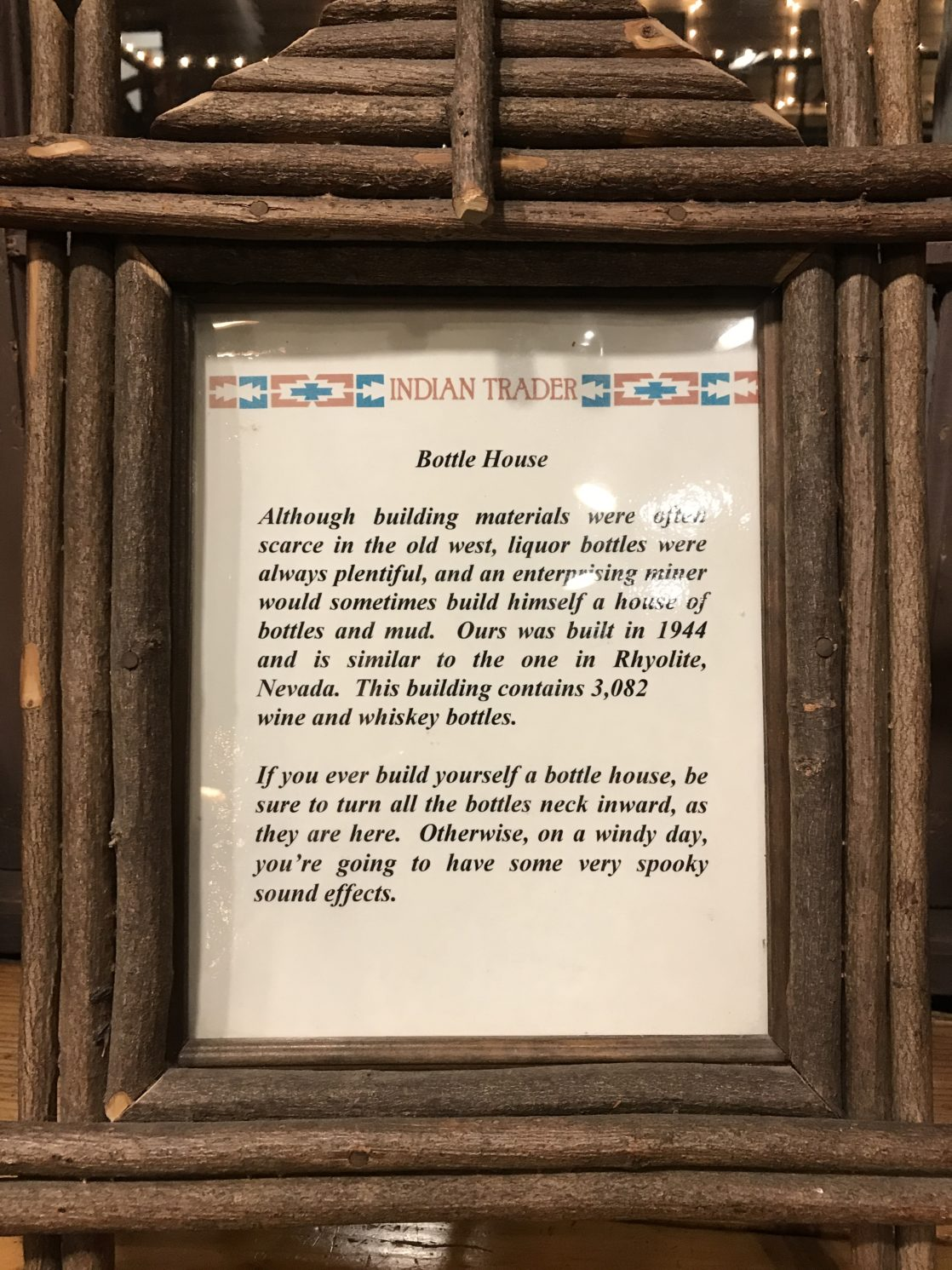 Information sign on the Bottle House