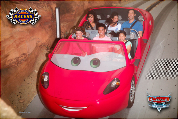 People riding in Car on Disney's Cars Ride