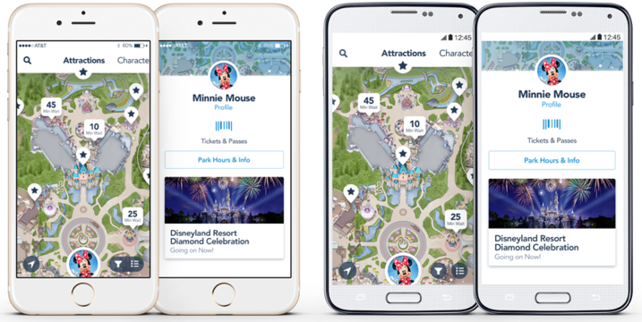 Disneyland app on iPhone