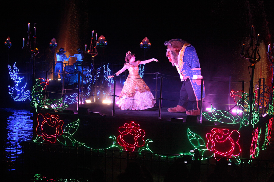 Belle and the Beast on a boat during Fantasmic