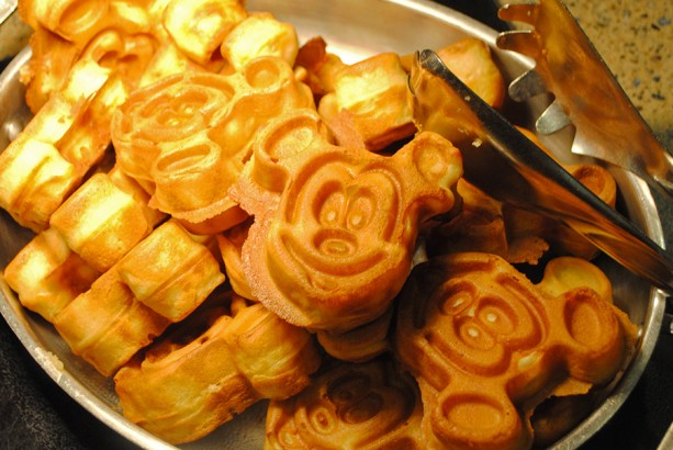 Stack of Mickey Mouse waffles