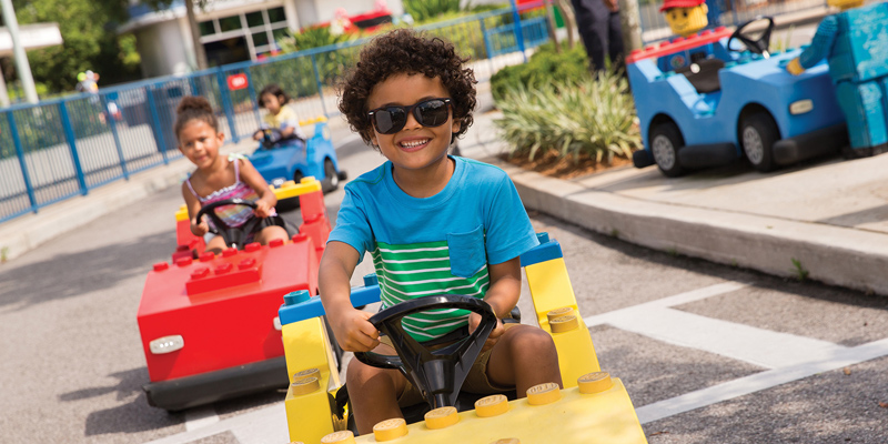 Legoland go carts going down the road