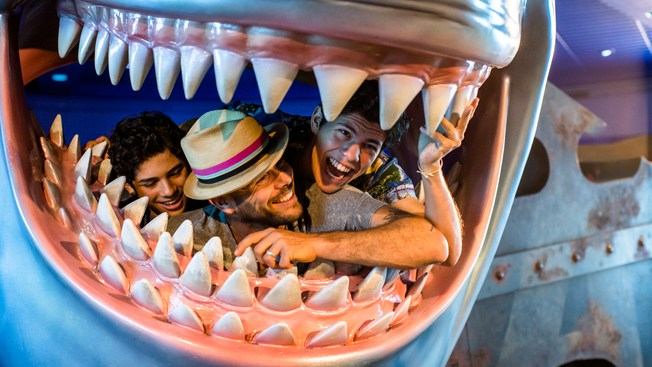 Guests inside of a fake shark