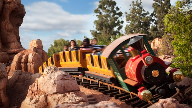 Big Thunder Mountain Railroad train coming around a corner