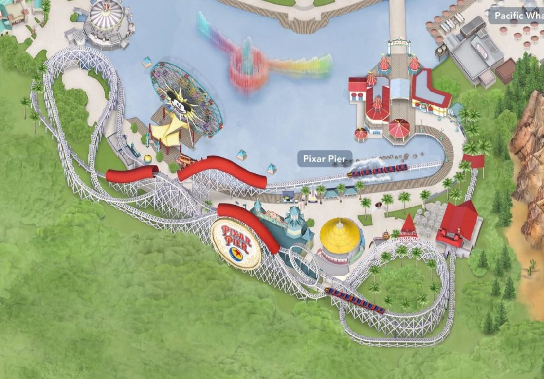 Close up of Pixar Pier on Disneyland App