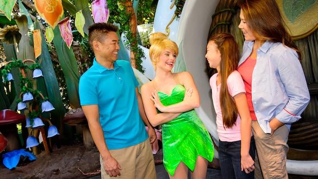 Princesses at Disneyland: Tinkerbell smiling at park guests
