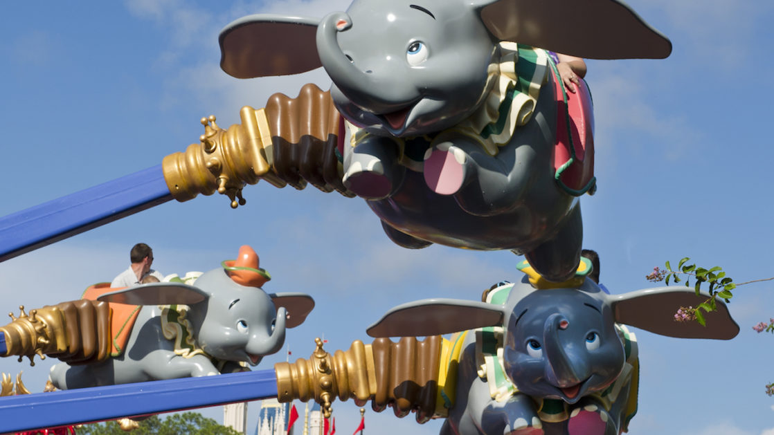 Close up of Dumbo ride in the air
