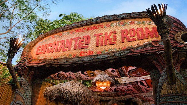 The sign for the Enchanted Tiki Room