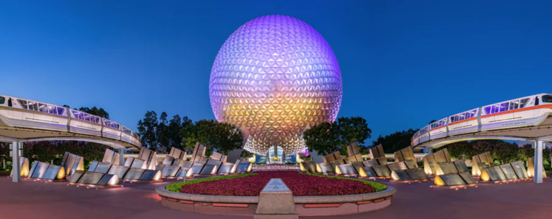 A nighttime view of Epcot