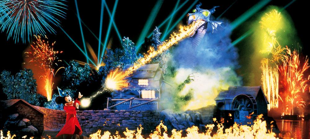 Mickey shooting fire during Fantasmic