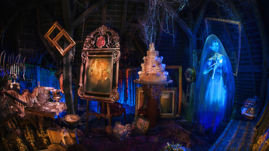 Inside of Haunted Mansion attraction