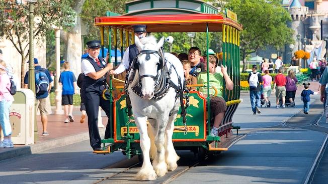 Horse pulling main street trolley