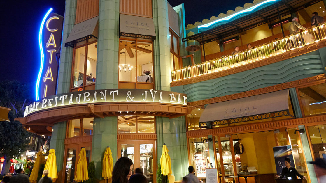 The outside of Catal Restaurant at night