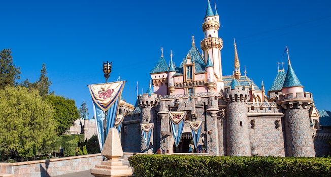 Sleeping Beauty castle with blue sky background