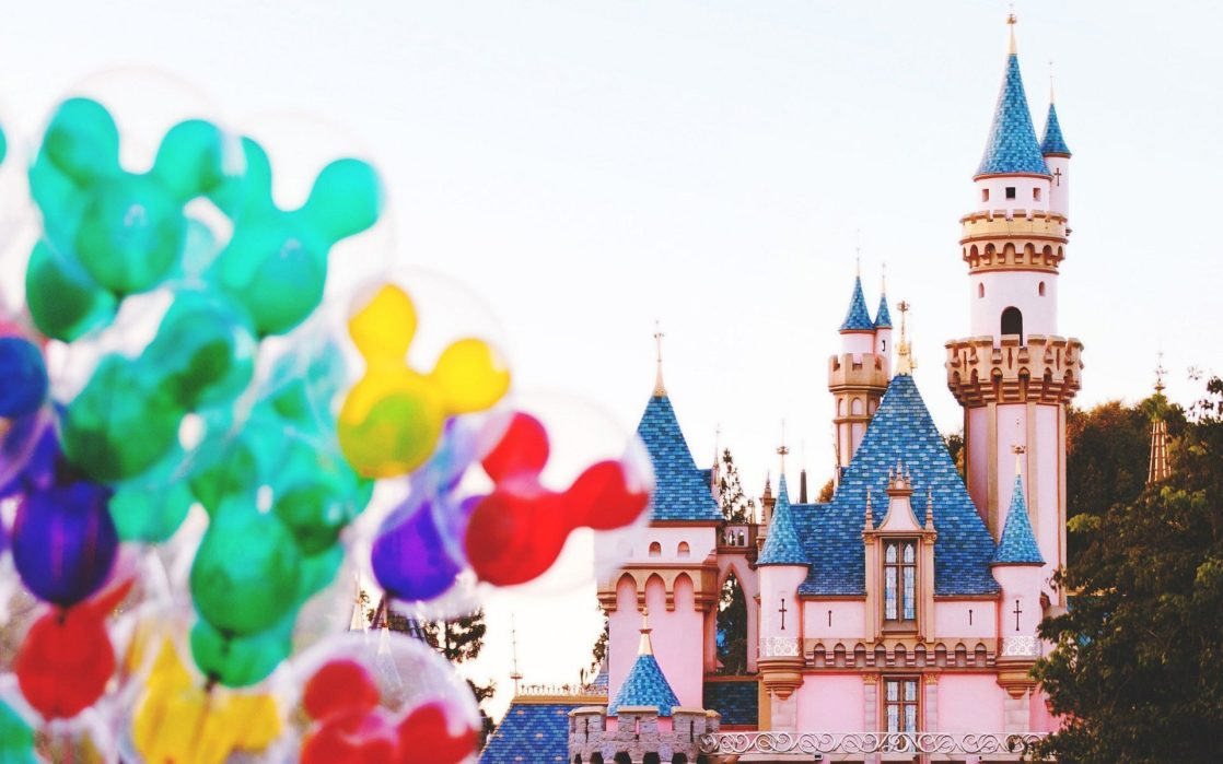 Balloons in front of the Disneyland castle